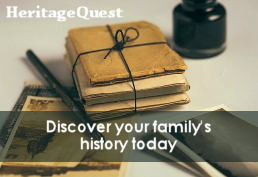 Heritage Quest offers genealogy and local history resources.  It can be used from home.
